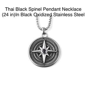 Other - THAI BLACK SPINEL NECKLACE 24 IN. STAINLESS STEEL